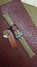 20 x 18 mm sunflower stingray embossed watch band, genuine leather,  handmade