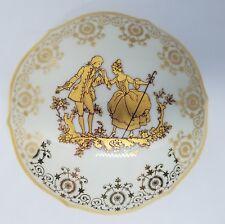Vtg Limoges France Round Porcelain Vanity Trinket Lidded Box Victorian Courting