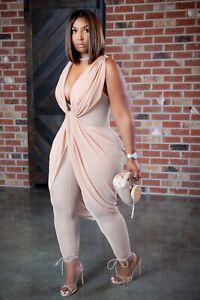 New Stylish Women Sleeveless V Neck Mesh Patchwork Solid Evening Jumpsuit Sexy