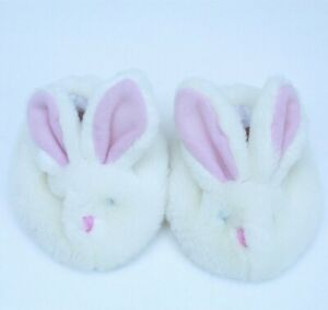 Build a Bear Bunny Slippers Fuzzy White BAB Shoes Accessory