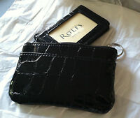 Rolfs Black Faux Leather Organizer Wallet Card Holder Zip Around W/ Pull Out ID