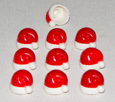 LEGO LOT OF 10 NEW MINIFIGURE HATS RED SANTA CAPS XMAS CHRISTMAS PARTS