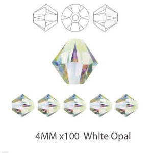 100x 4MM White Opal Crystal Cut Bicone Glass Beads- UK Stock