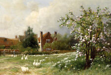 Oil painting white ducks in spring landscape with flowers on canvas
