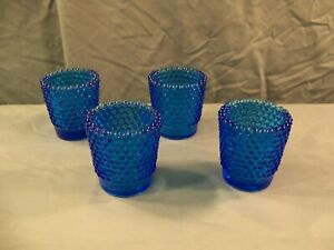 Lot of 4 Blue Glass Hobnail Votive Candle Toothpick Holders