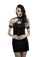 Punk Rave Gothic Goth Fetish Rock Black Mini Dress with Spikes on Shoulder