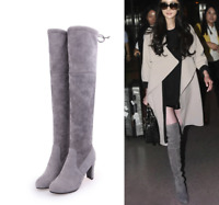 Plus Size Women Toe Lace Up Boot Shoes Over Knee Stretch Thigh High Heel Boots J
