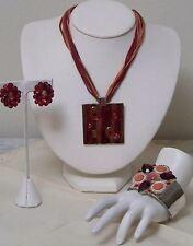 Vintage Estate Item Crimson Enamel Statement Necklace - Cuff Bracelet - Earrings