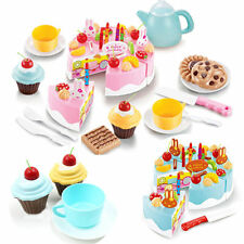 54pcs Pretend Role Play Kitchen Toy Happy Birthday Cake Food Cutting HF