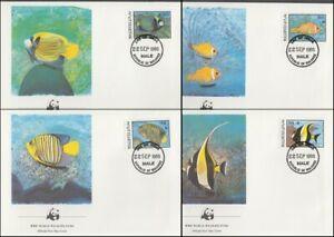 MALDIVE ISLANDS 1986 WWF MARINE LIFE FDC's x4 FISH (ID:638/D13549)