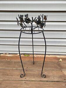 """Vintage Black Metal PLANT STAND 3 Legged Flower Pot Holder Ivy Design 24"""" Tall"""