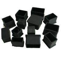 4x Black PVC Chair Square Anti Scratch Furniture Leg Floor Protector End Caps UK