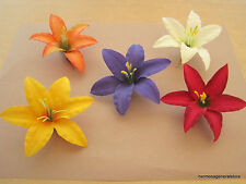 "Five 3.5"" Multi Lily Silk Flower Hair Clips Lot,Wedding Prom, Dance,Bridal,Party"