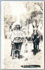 CROW INDIAN CHIEF IDENTIFIED ANTIQUE REAL PHOTO POSTCARD RPPC