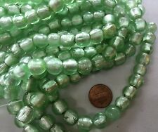 """TWO 16"""" Strands SILVER FOIL LINED MINT GREEN Lampwork Glass Beads 11mm 76 Beads"""
