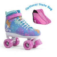 SFR Vision II Canvas Quad Roller Skates - Blue Floral - Optional Skate Bag