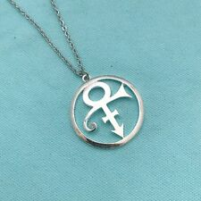 "Prince ""The Love Symbol"" 1-1/2"" Silver Charm with Stianless Steel 18"" Necklace"