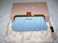MIU MIU by PRADA Astral Blue matelasse frame clutch handbag NIB