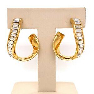 Designer Swarovski Crystal Gold-Tone Swirl Dangle Pierced Earrings! 187