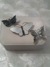Lot of 3 Beautiful Vintage Butterfly 1 White Enamel  and 2 cute Green butterfly
