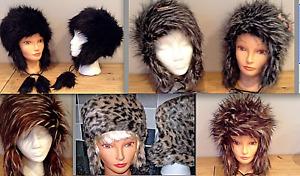 Trapper Hat Faux Animal Fur Shaggy or Sleek Ladies Men Unisex Winter Pom Poms