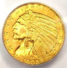 1908 Indian Gold Half Eagle $5 Coin - ICG MS65 - Rare in MS65 - $7,750 Value!