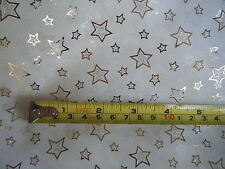 Cream Organza Organdy Gold Foil Stars Fabric - Sold by the Metre