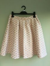 SKIRT FULL SIZE 14 BY MADEMOISELLE CIRCLE PATTERN ROSE GOLD & CREAM LINED BNWT