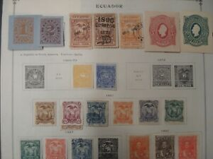 Unpicked ECUADOR Stamp Collection on Scott Int'l album pages 1865 -