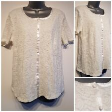 Size 16 Top BONMARCHÉ White Lace Button Front Fitted Great Condition Women's