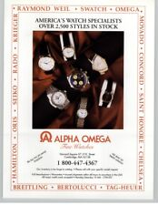 Alpha Omega Fine Watches Store - Breitling, Tag, Oris, Omega 1992 Print Ad