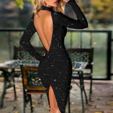 sexy Abendkleid kurz Kleid langarm knielang rückenfrei Glitzer Party Clubwear