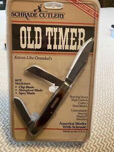 Schrade Old Timer 80T Stockman Pocket Knife High Carbon Steel New SEALED!!!!!!