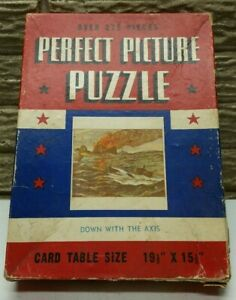 "Vintage 1940's Jigsaw Puzzle Perfect Picture 375 PCS ""Down With The Axis"" WWII"