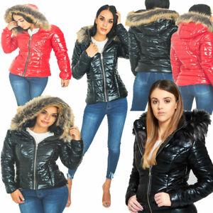 JYO Womens Faux Fur  shinny Hooded Puffer Jacket (1043)