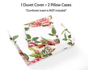 DaDa Bedding Romantic Roses Lovely Spring Pink Floral Duvet Cover Set w/ Pillows