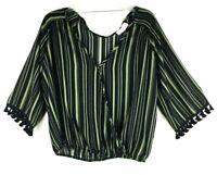Lavender Field Boho Crop 3/4 Sleeve Striped Blouse Sz:L TASSEL POM POM  HT13614
