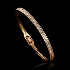 18K GOLD PLATED BANGLE MADE WITH CLEAR SWAROVSKI CRYSTALS OPENABLE CLASP GIFT