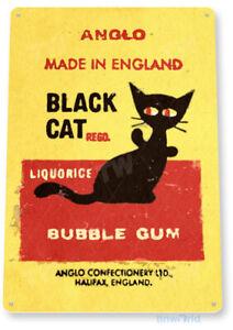 Black Cat Bubble Gum Chewing Gum Retro Food Candy Metal Decor Tin Sign B705