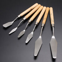 6pcs/set Wood Handle Metal Palette Knife Spatula Oil Texture Painting Art Tools