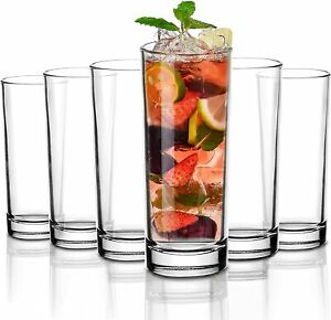 Hiball Clear Glasses. Tall Drinking Water / Juice Glass. ( Set of 6 ) 360 ml.