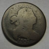 1807/6 Draped Bust Large Cent Large Date Pointed 1 GOOD+ Original Coin   a61