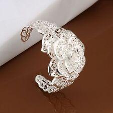 free shipping wedding Silver big Flower women Bangle bracelet Jewelry Fashion
