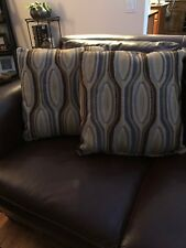 DECORATIVE COUCH PILLOWS BEIGE WITH ACCENTS OF BROWN/SKY & SLATE BLUE