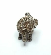 Vintage 925 Sterling Silver OLD FILIGREE ELEPHANT Bracelet Charm 4.1g