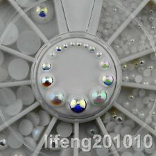 White AB nail glitter rhinestones pearls wheel for 3d nail art decoration tools
