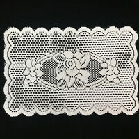 4 Pcs White Rectangle Floral Lace Placemats Doily Table Pad 12X18' Dinning Decor