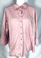 George Women's Plus 22W 24W Blouse Pink 3/4 Sleeves Button Down Collared Stretch