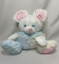 Vintage 1988 Fisher Price Striped Puffalump Mouse Bear Stuffed Toy Rattle