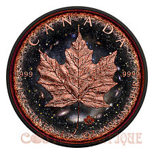 LOGARITHMIC UNIVERSE MAPLE LEAF 1oz Silver Coin Ruthenium Plated Rose Gold Gild